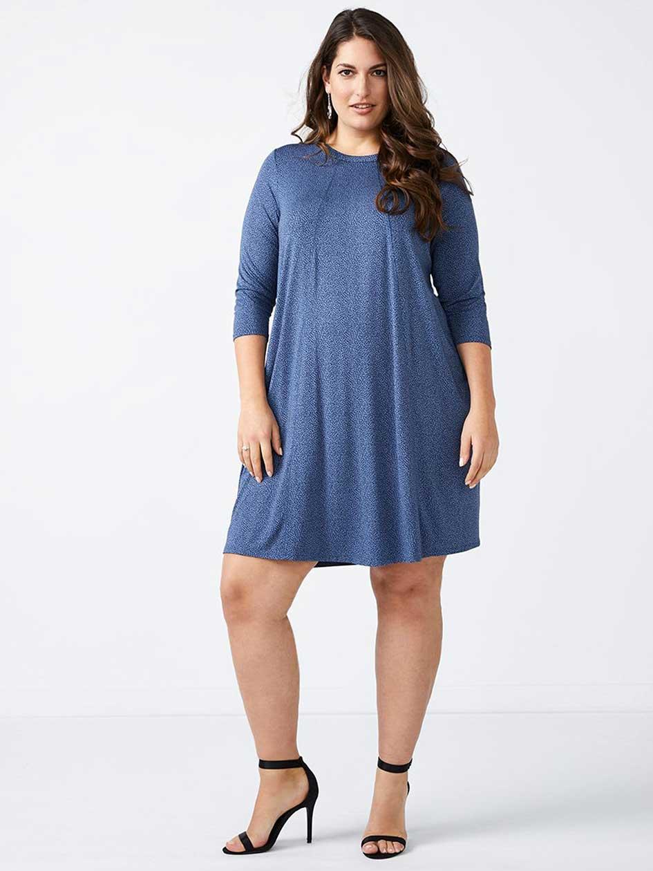 3/4 Sleeve A-Line Knit Dress