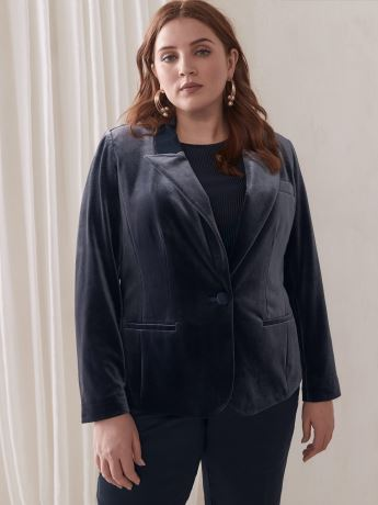 Single-Breasted Velvet Blazer - Addition Elle