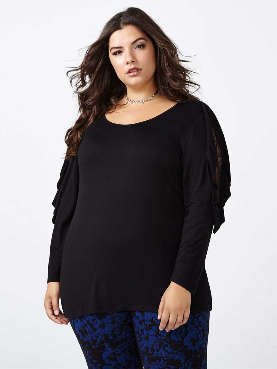 Ruffled Sleeve Top with Lace