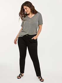 ONLINE ONLY - Tall Curvy Fit Straight Leg Black Jean - d/C JEANS