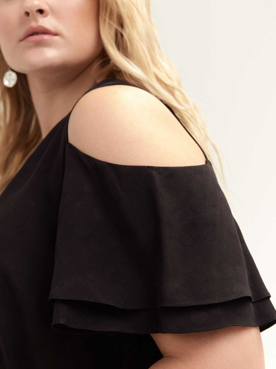Cold Shoulder Wrap Blouse with Ruffle Sleeves
