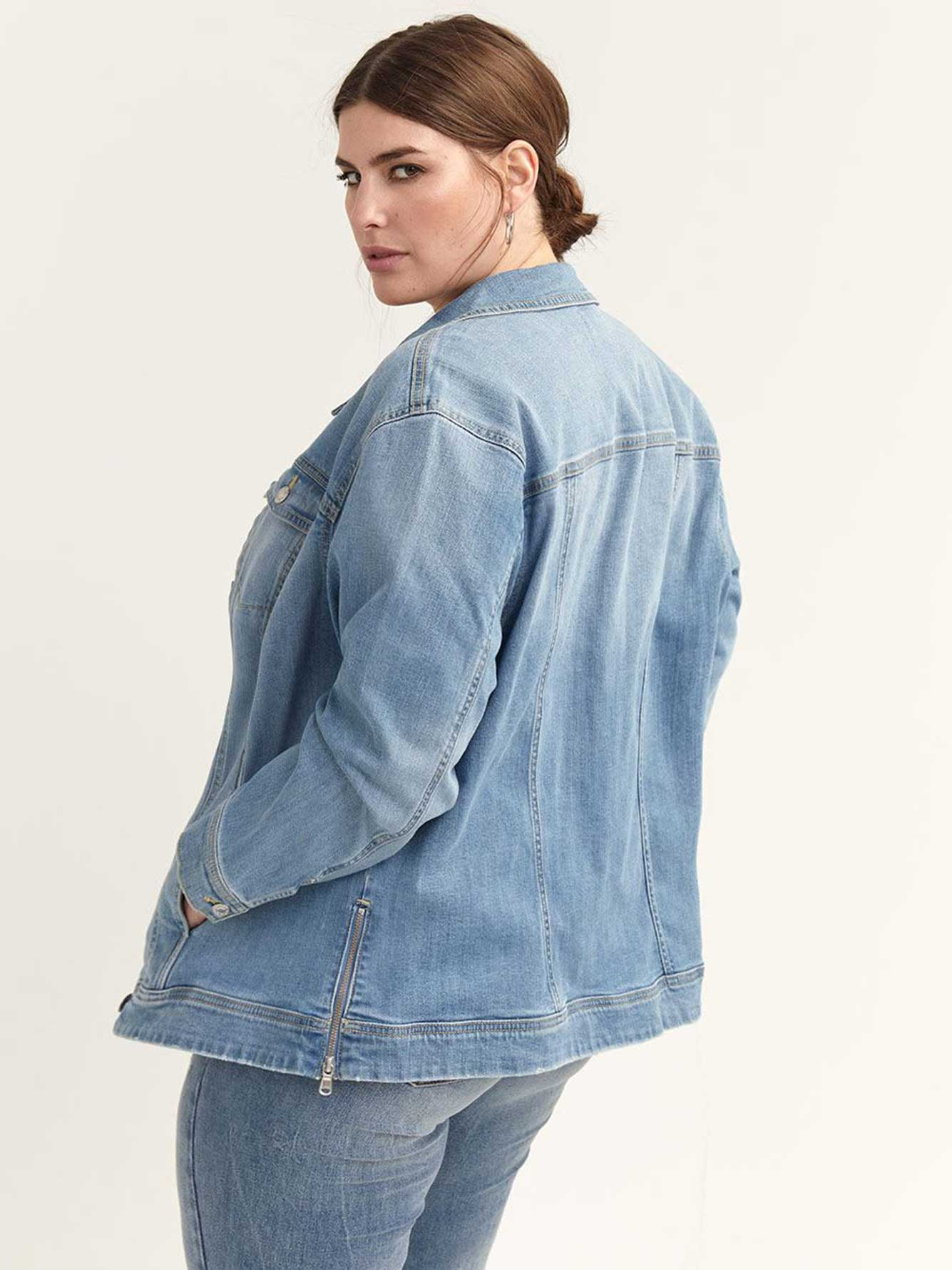 Denim Jacket with Side Zippers - d/C JEANS