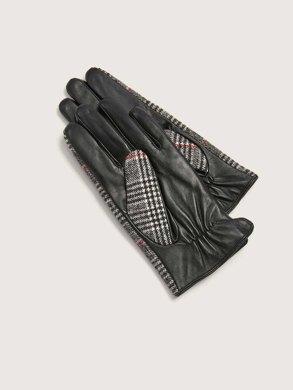 Plaid and Leather Mix Media Gloves - Addition Elle
