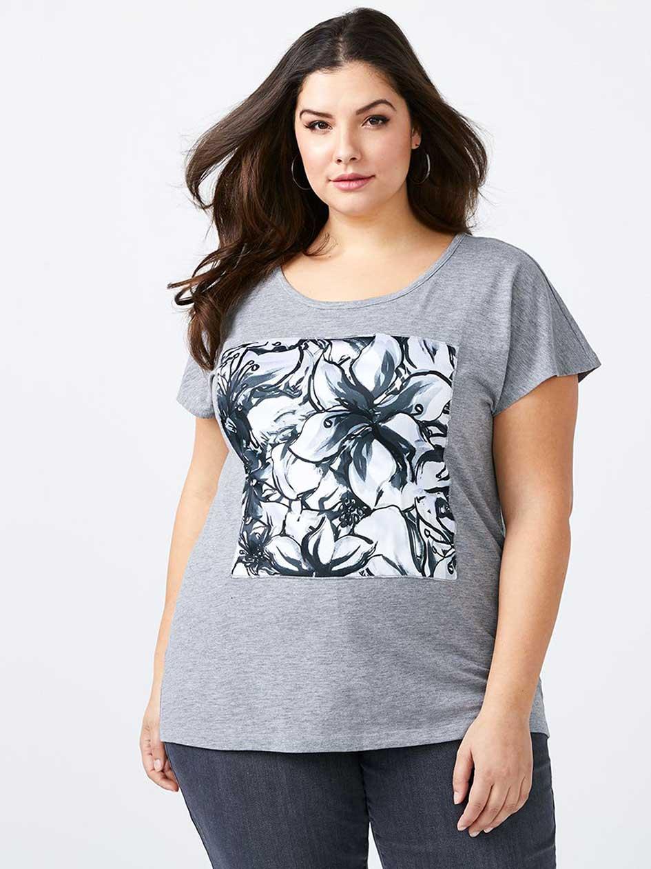 Girlfriend Fit Printed T-Shirt - d/c JEANS