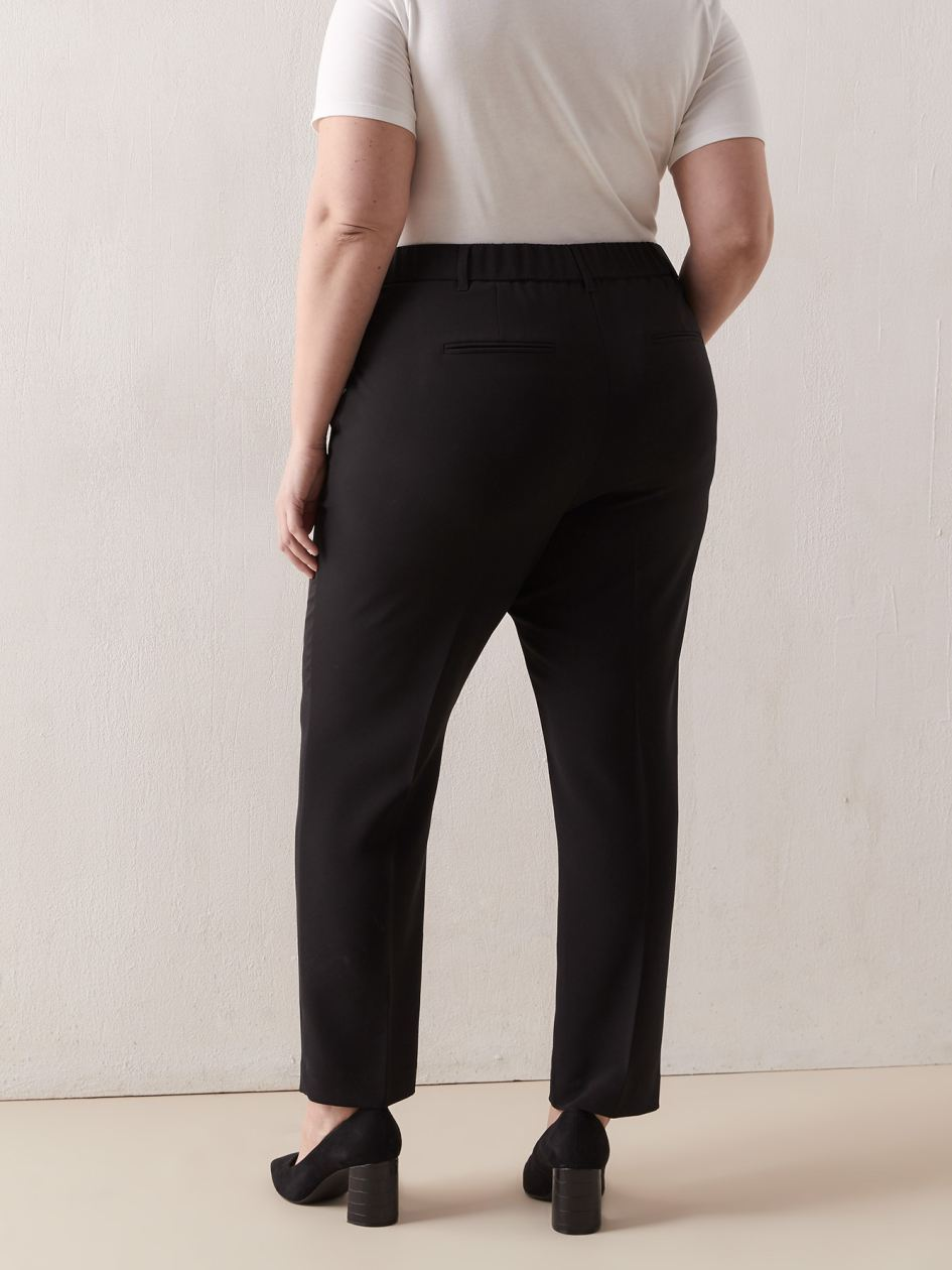 Solid Pull On Straight Leg Ankle Pant - Addition Elle