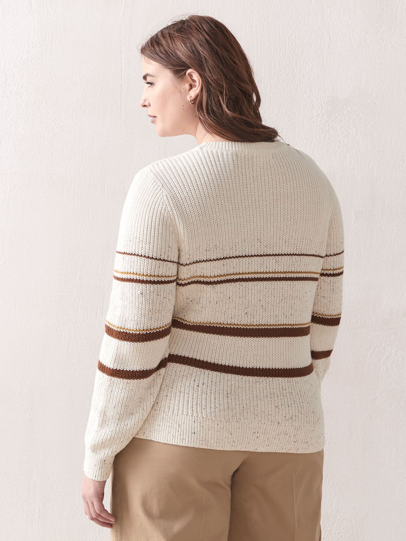 Striped Nep Yarn Sweater - Addition Elle