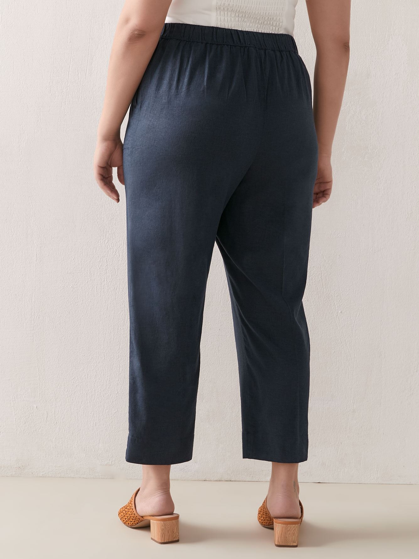 Cropped Straight Leg Linen Pant - Addition Elle