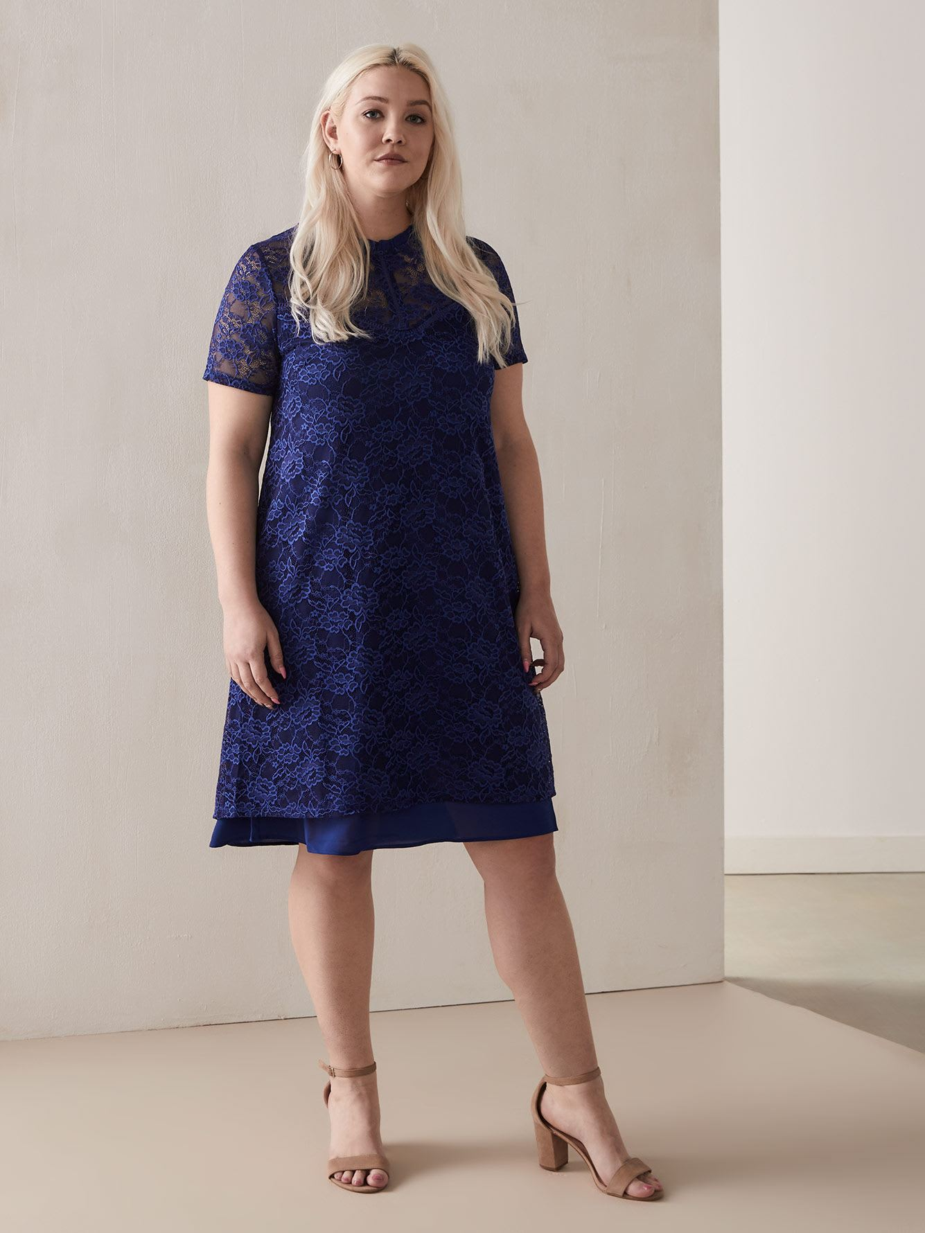 High-Low Blue Lace Dress