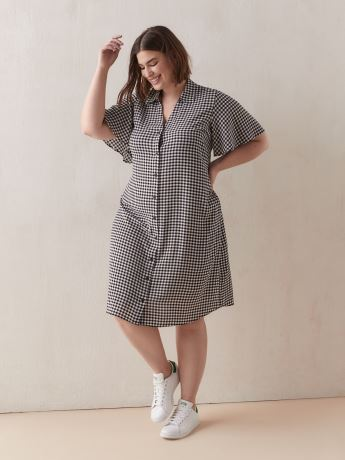 Printed Short-Sleeve Shirt Dress - Addition Elle