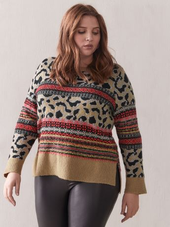 Leopard and Stripes Sweater - Addition Elle