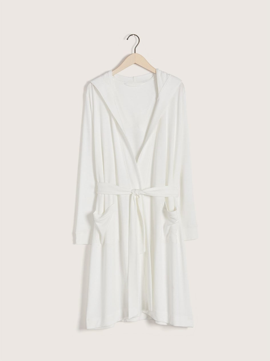 Solid French Terry Lounge Robe with Hood - Addition Elle