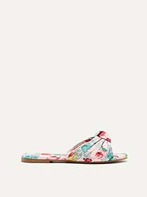 Wide Printed Flat Sandals with Front Knot
