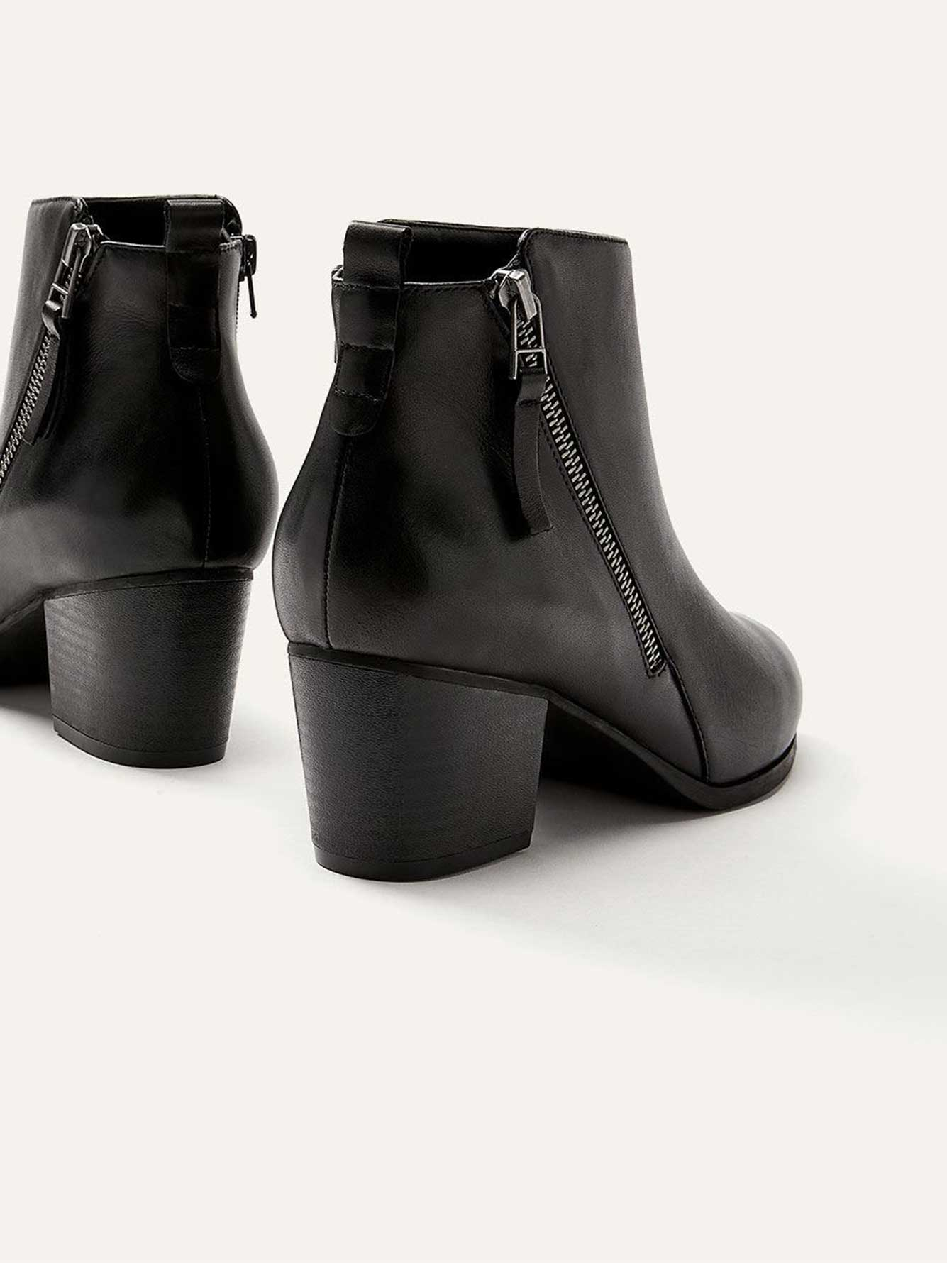 Wide Leather Booties with Side Zip