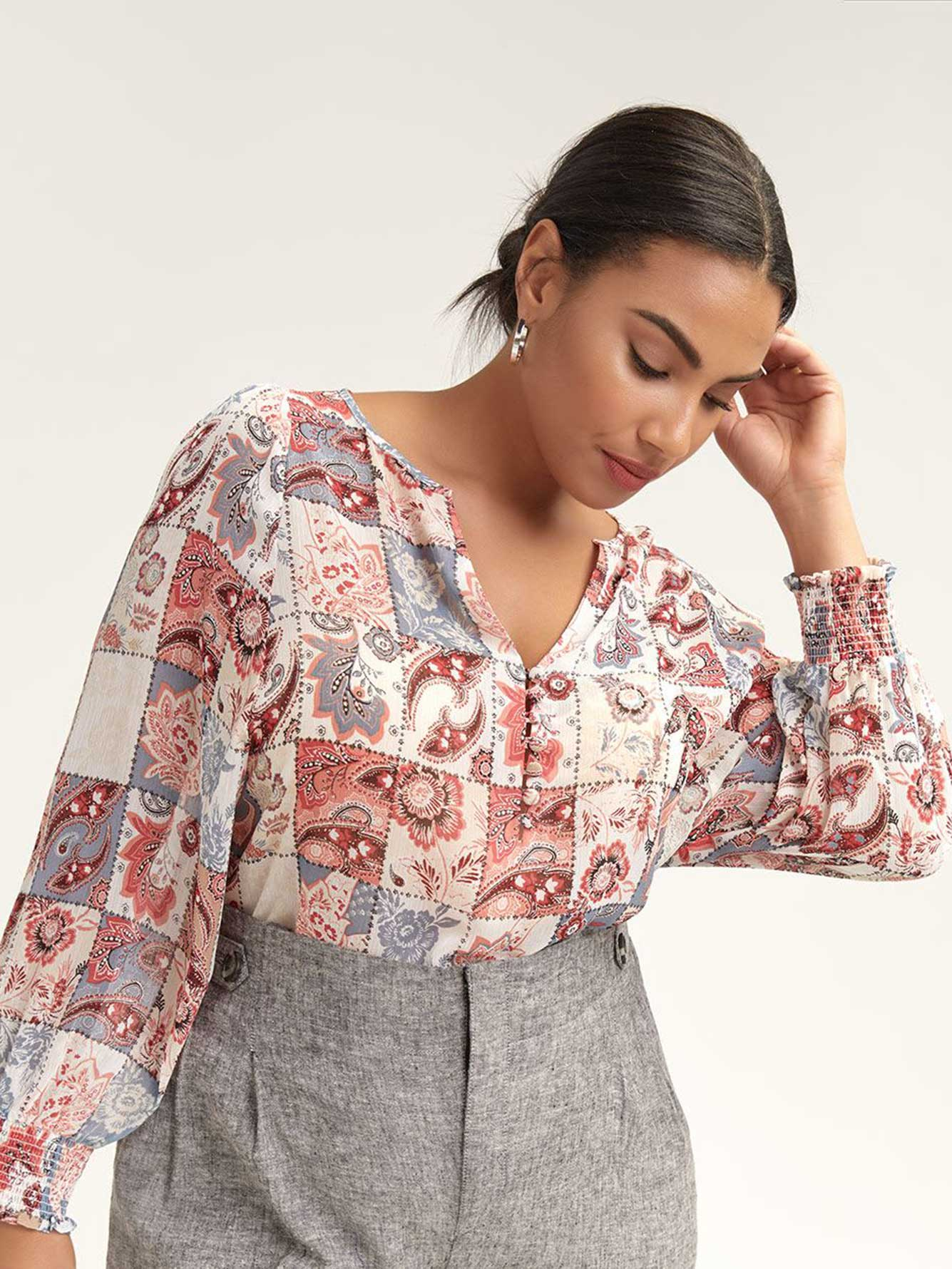 Floral-Print Balloon Sleeve Blouse