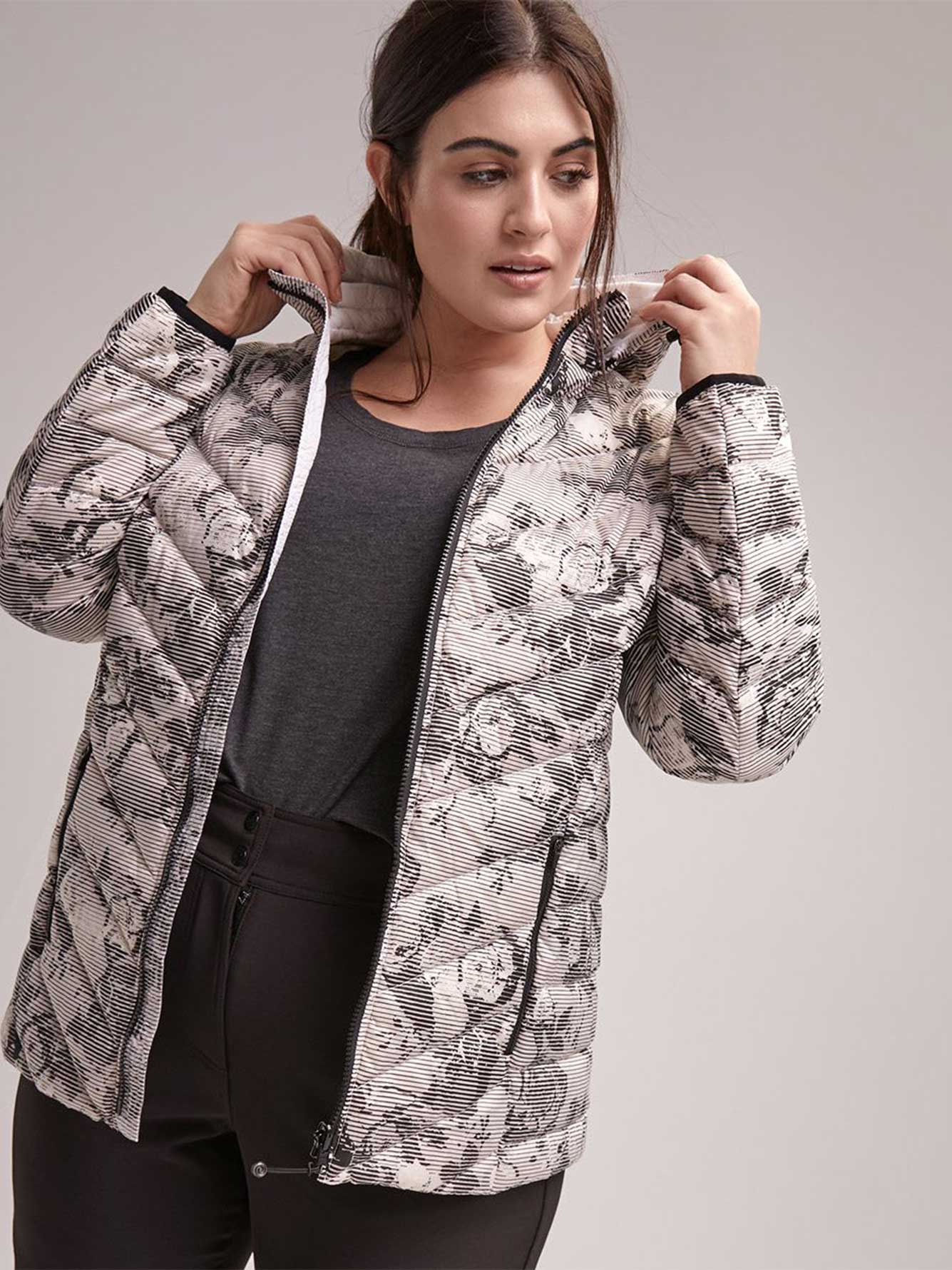 464251b21d6540 Plus Size Printed Packable Jacket with Hood - ActiveZone | Penningtons