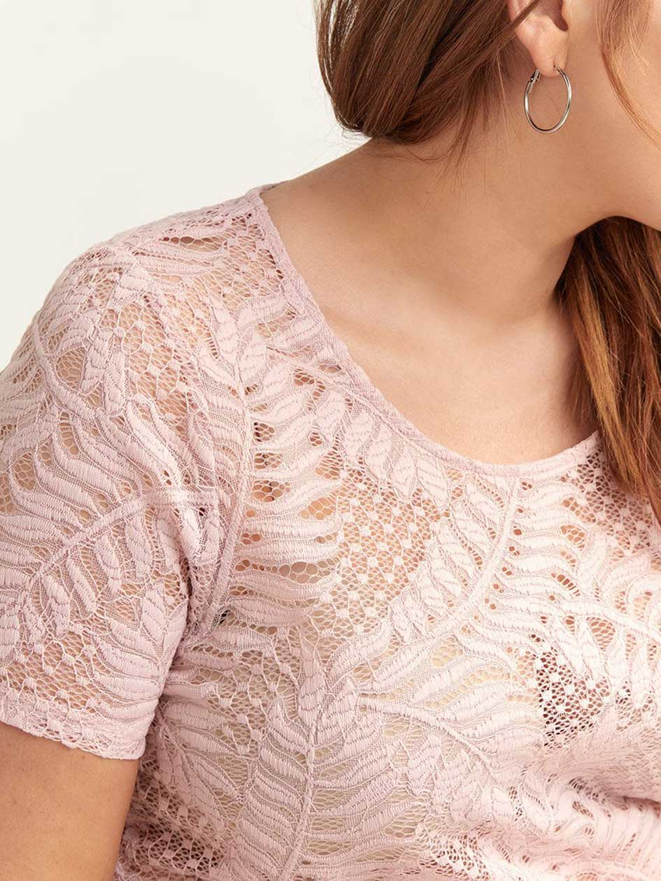 Short-Sleeve Knit Lace Top