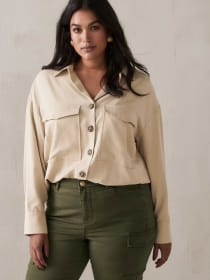 Long Sleeve Utility Blouse - Addition Elle