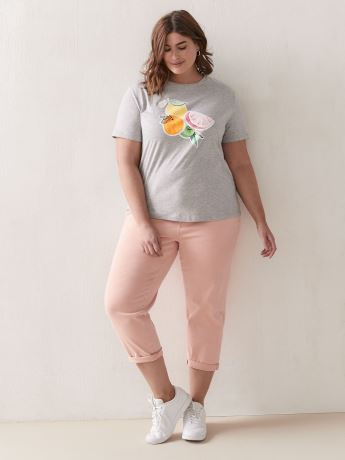 Cotton T-Shirt with Placement Print - Addition Elle
