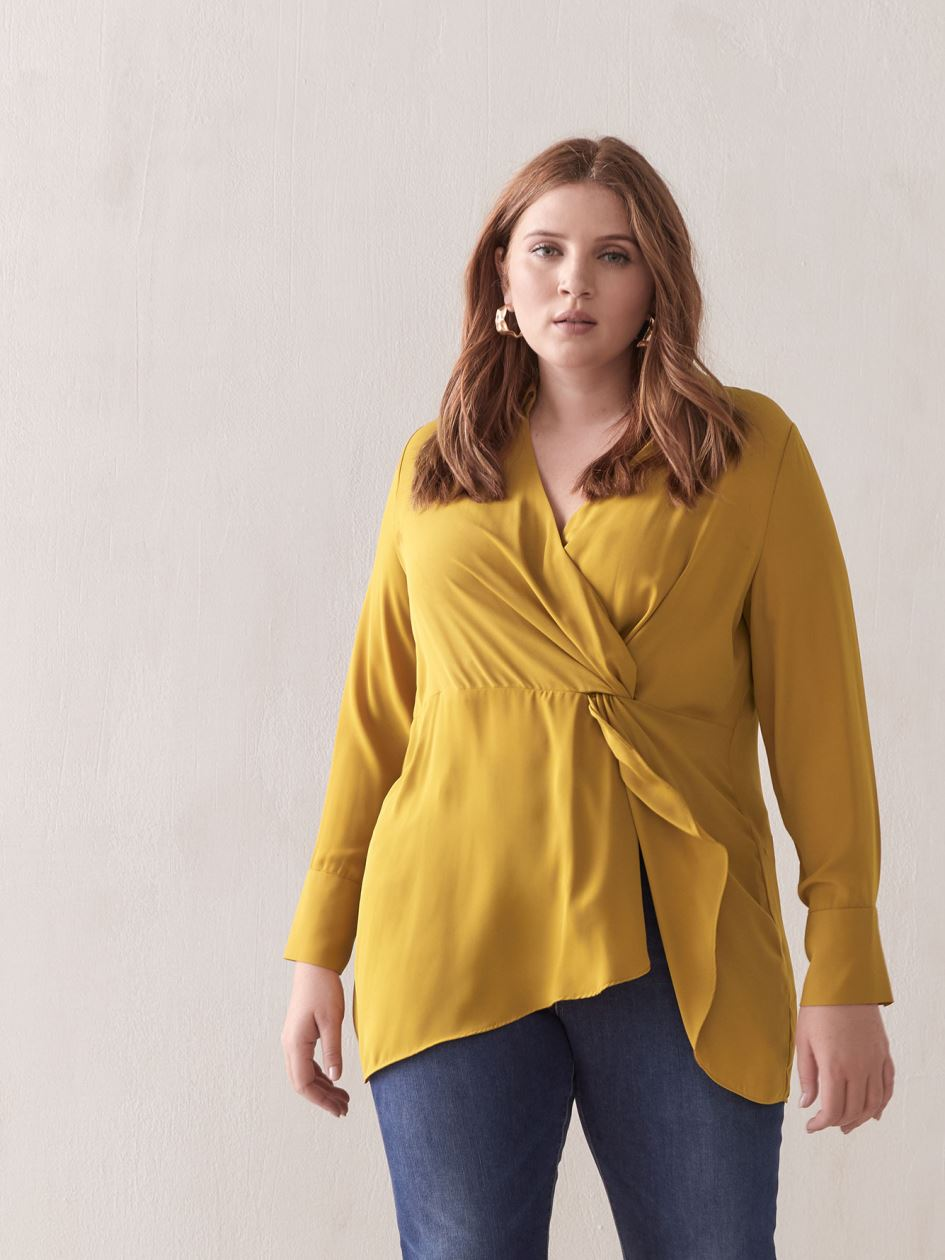 Faux Wrap Tunic Blouse - Addition Elle