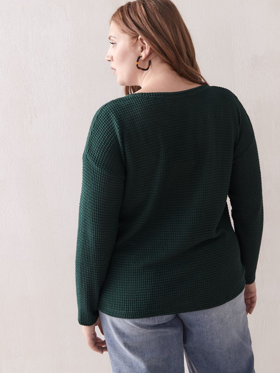 Long-Sleeve Waffle Top - Addition Elle