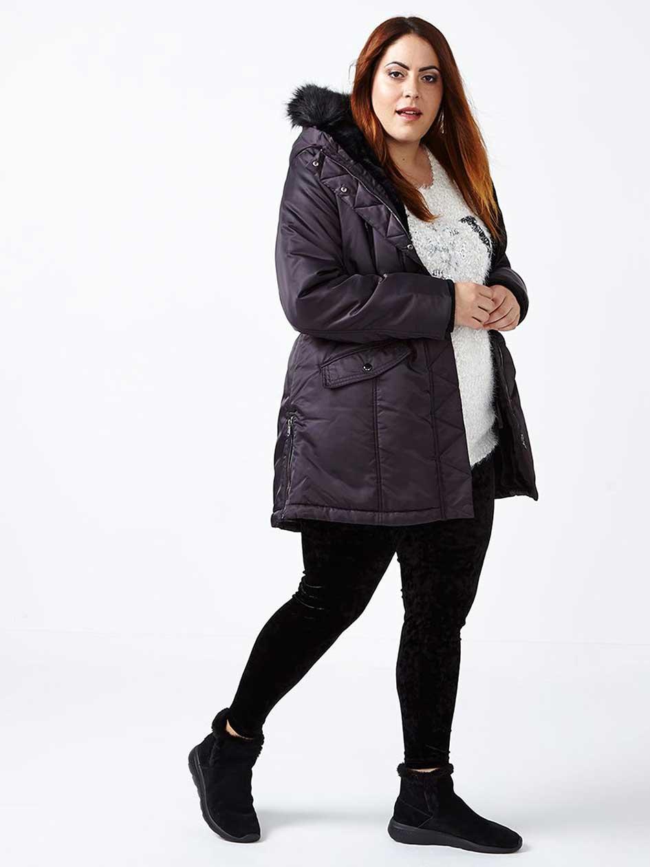 Parka Winter Coat with Faux-Fur