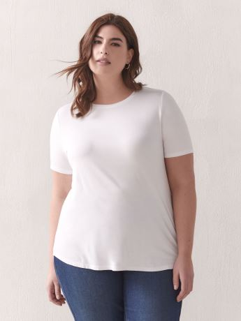 T-shirt coupe moderne, viscose et élasthanne - Addition Elle