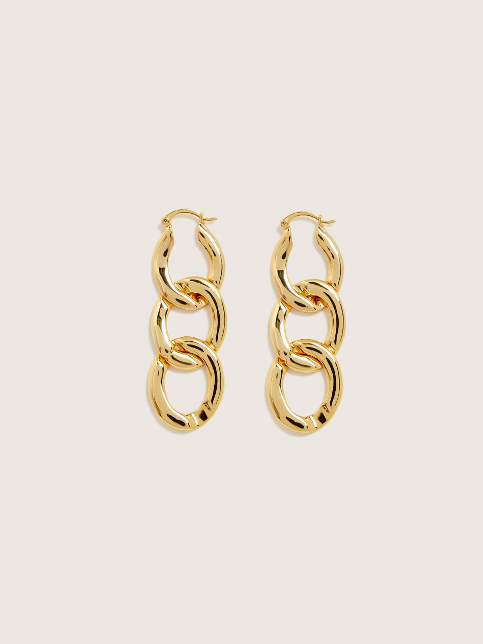 Gold Plated Chain Link Pendant Earrings - Addition Elle