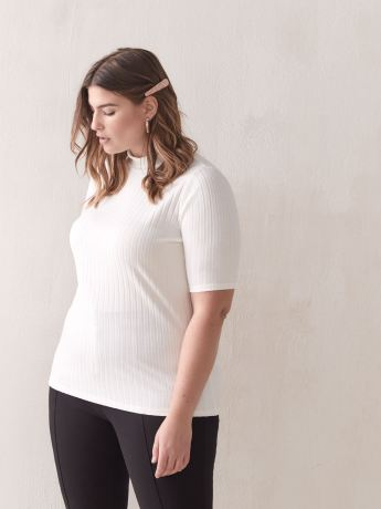 Ribbed Mock-Neck Top - Addition Elle