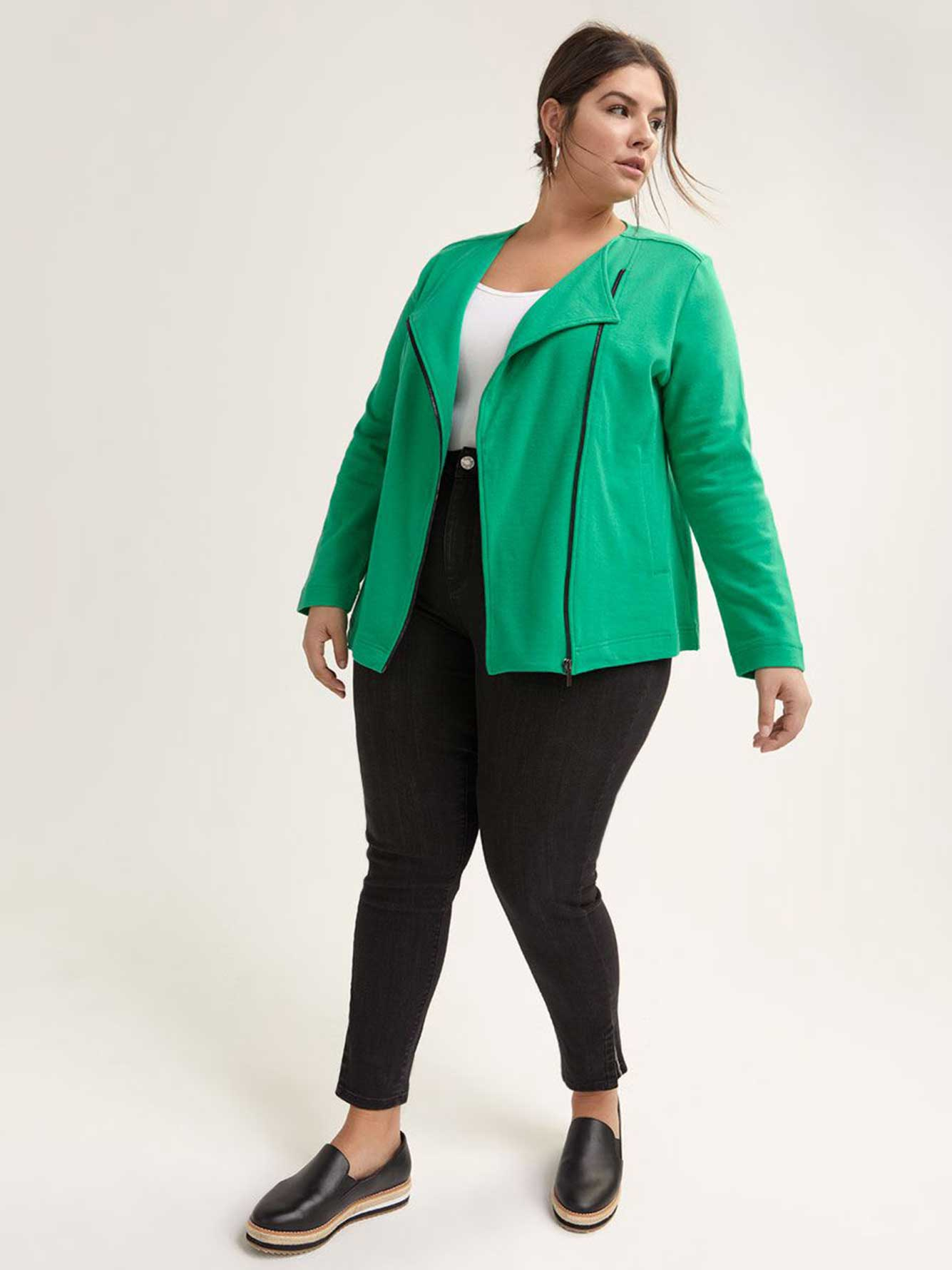 French Terry Cardigan with Asymmetrical Zip