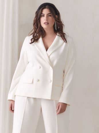 White Double-Breasted Blazer - Addition Elle