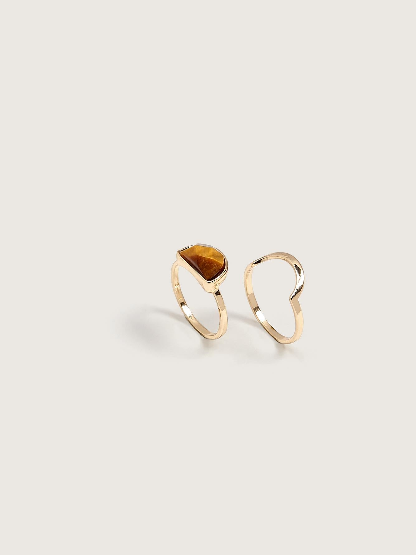 Rings with Semi-Precious Stone, 2-Pack - Addition Elle