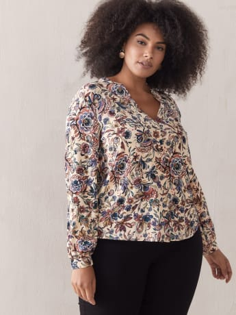 Floral Balloon-Sleeve Blouse - Addition Elle