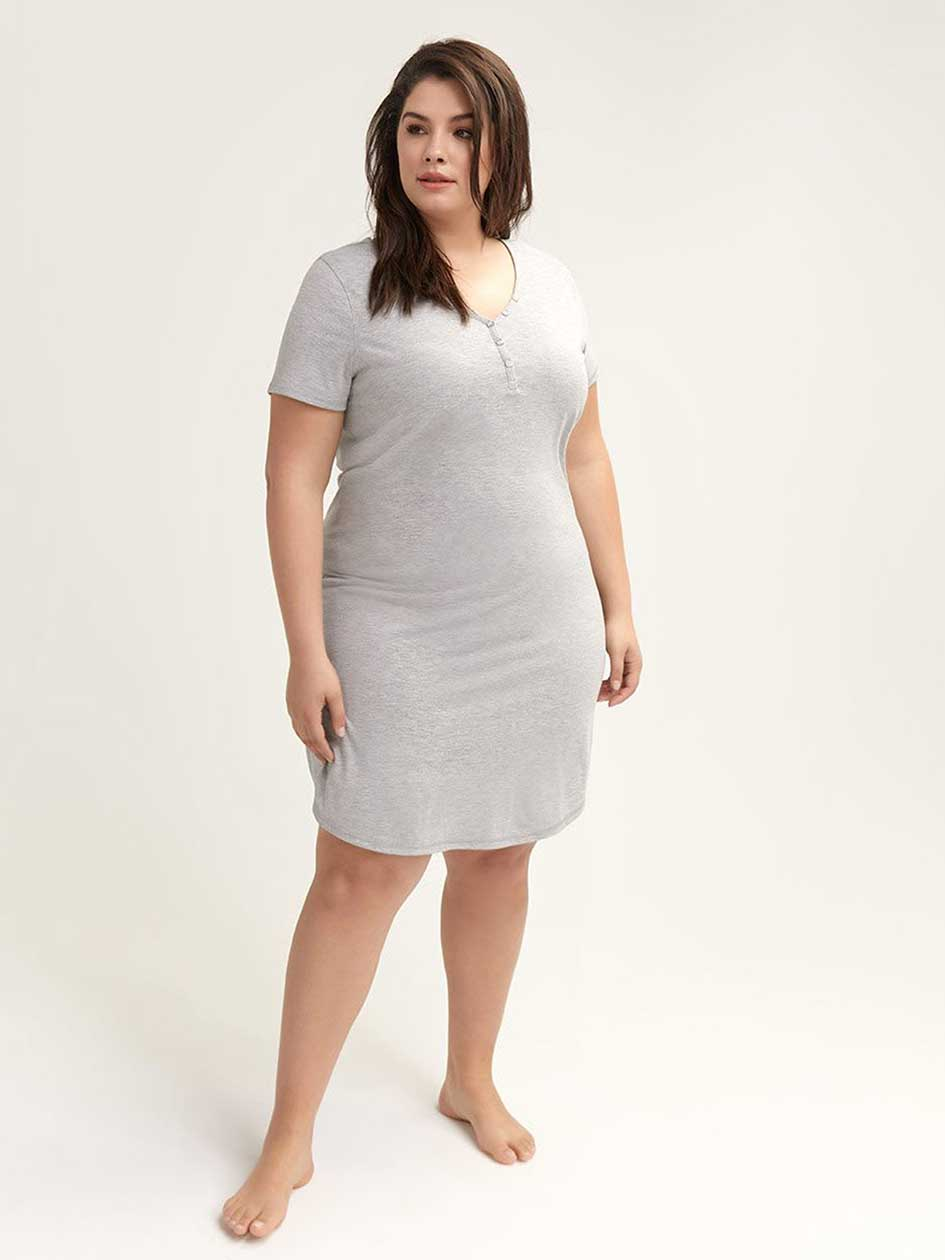 Marled Short Sleeve Nightdress - ti Voglio