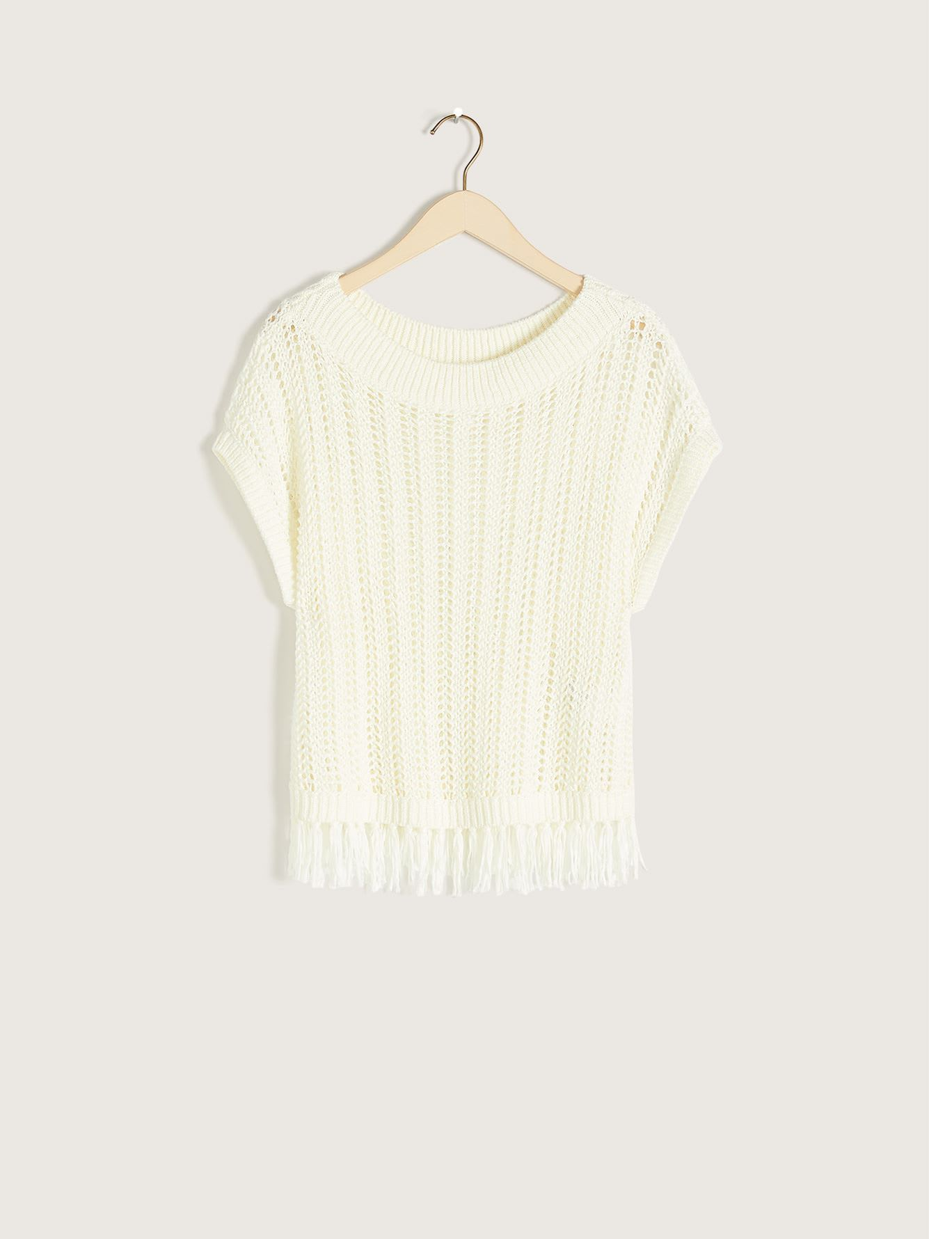 Crochet Sweater with Fringed Hem - Addition Elle