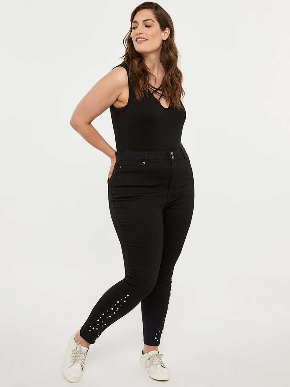 4a6abd769fe Petite - Slightly Curvy High Rise Skinny Jean with Pearls - d C JEANS