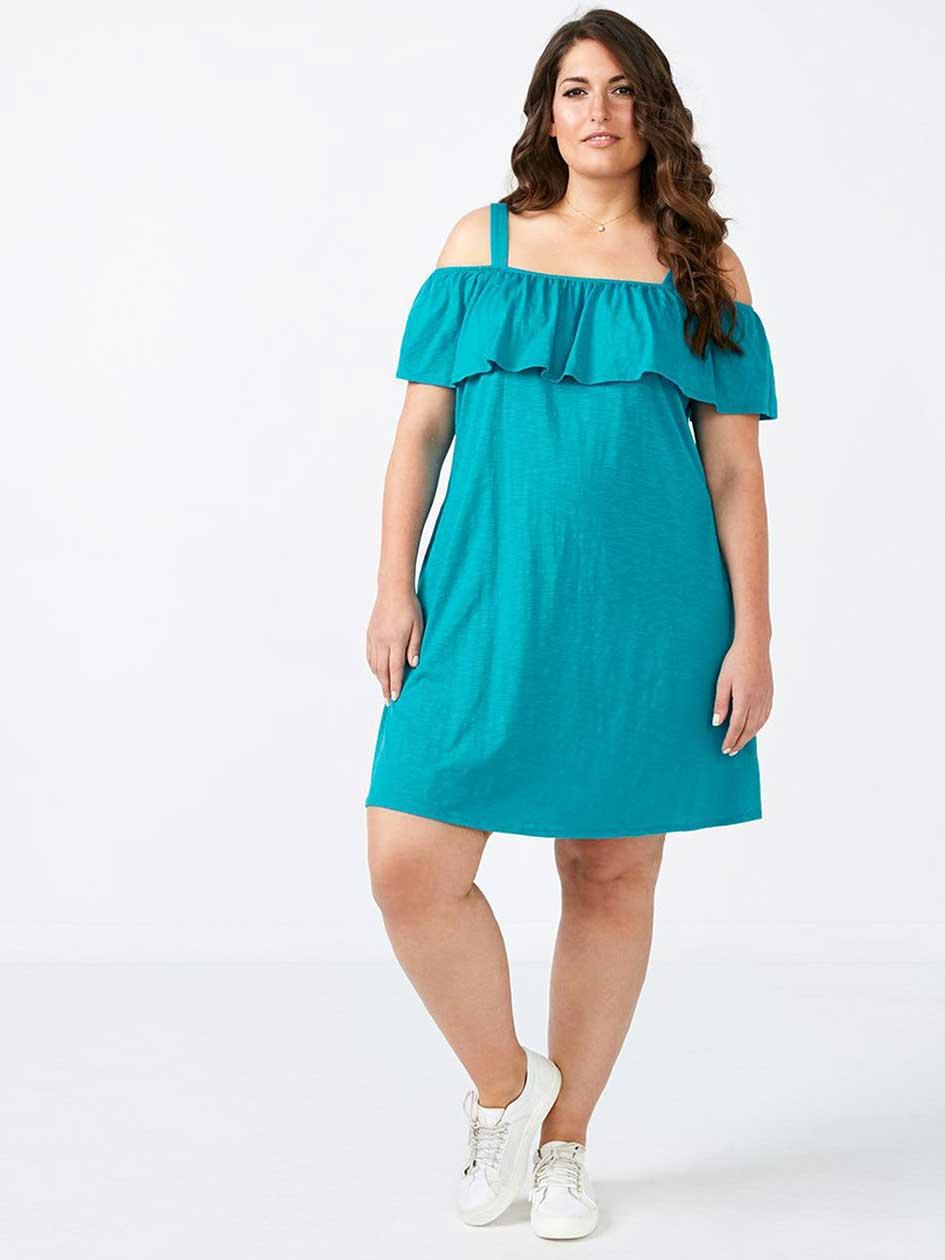Ruffled Trim Off Shoulder Dress