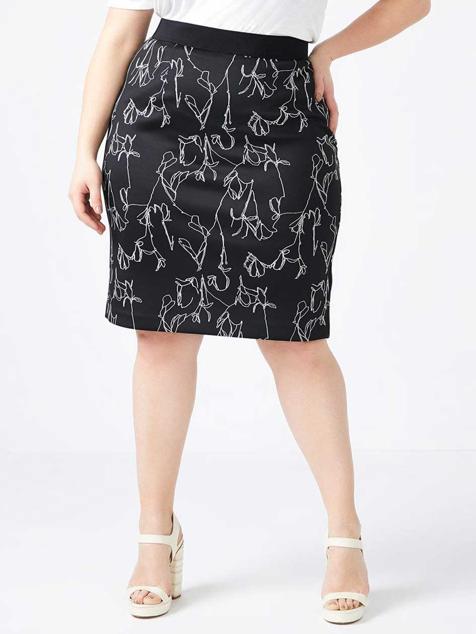 Printed Scuba Pencil Skirt - In Every Story