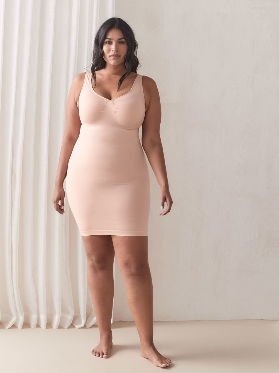 Seamless Shapewear Mid-Thigh Slip Dress - Addition Elle