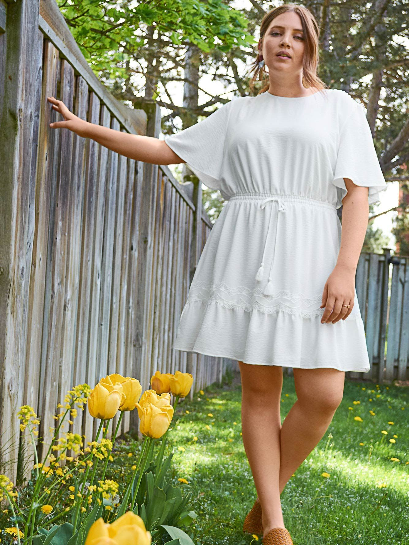 Solid Short Flutter Sleeve Dress - Addition Elle