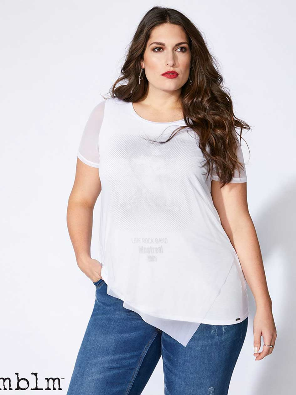 T-Shirt with Mesh and Foil Print - mblm