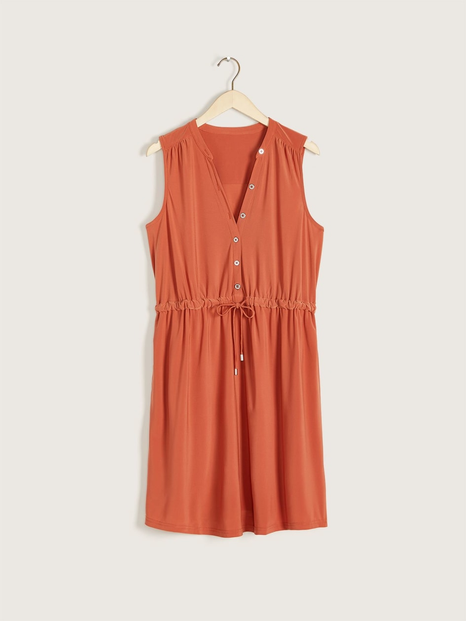 Solid Sleeveless Shirt Dress - Addition Elle