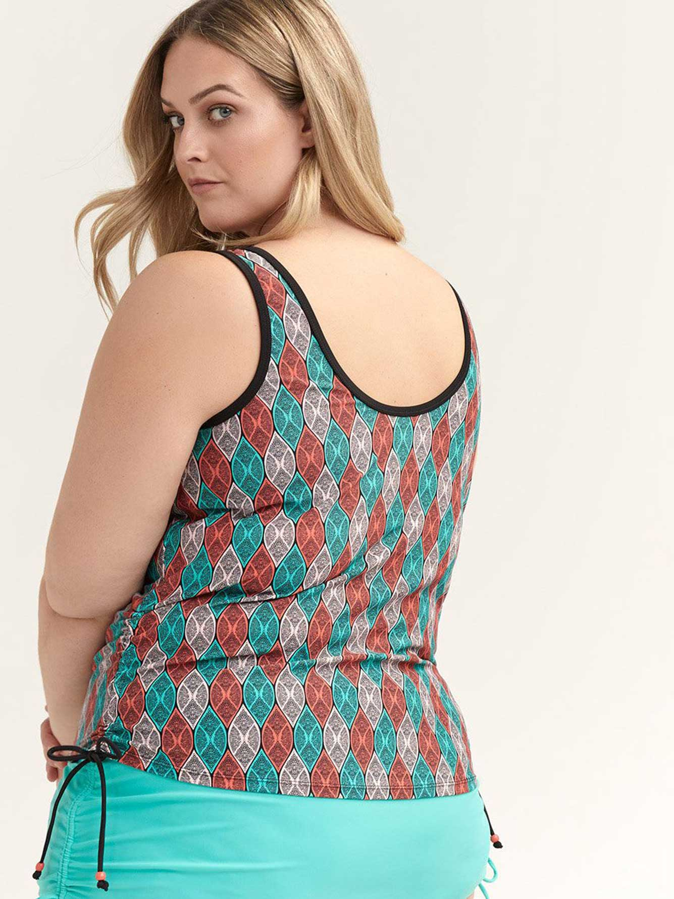 Printed Tankini Top with Drawstring - Sea