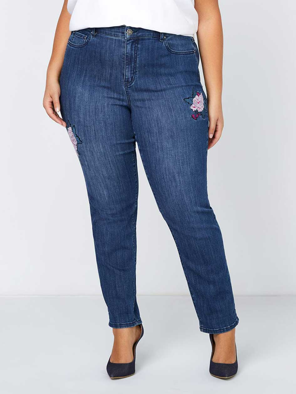 PETITE Slightly Curvy Straight Leg Jean with Flower Embroidery - d/C JEANS