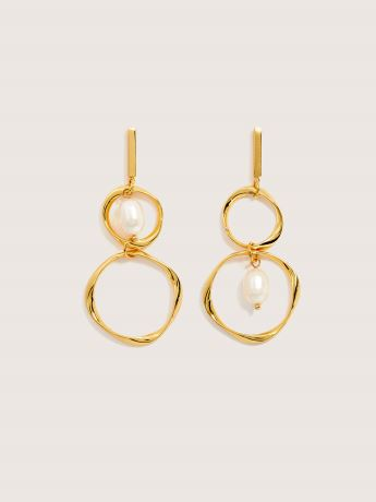Asymmetrical Earrings with Fresh Water Pearl - Addition Elle