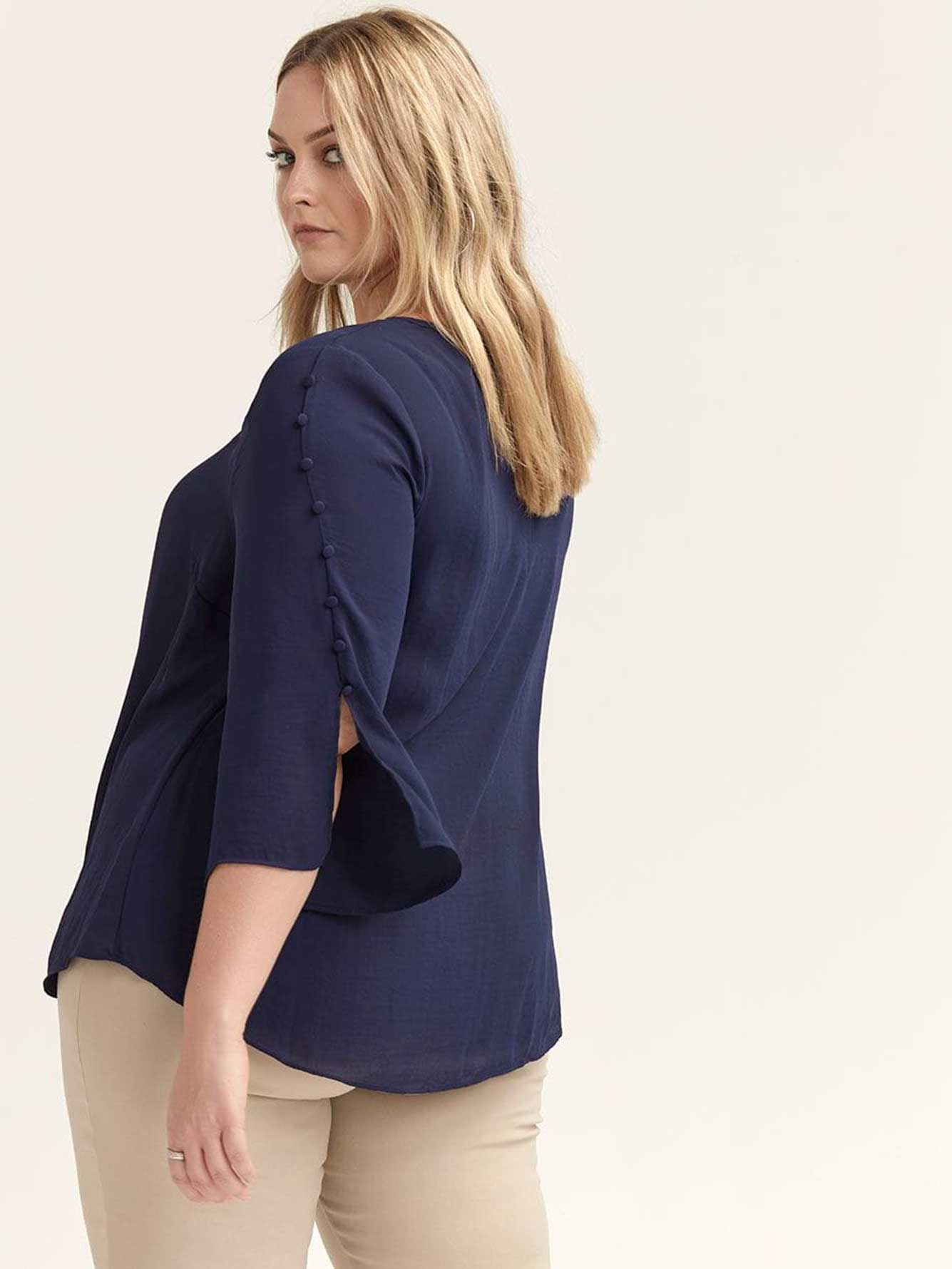 3/4 Sleeve Blouse with Buttons