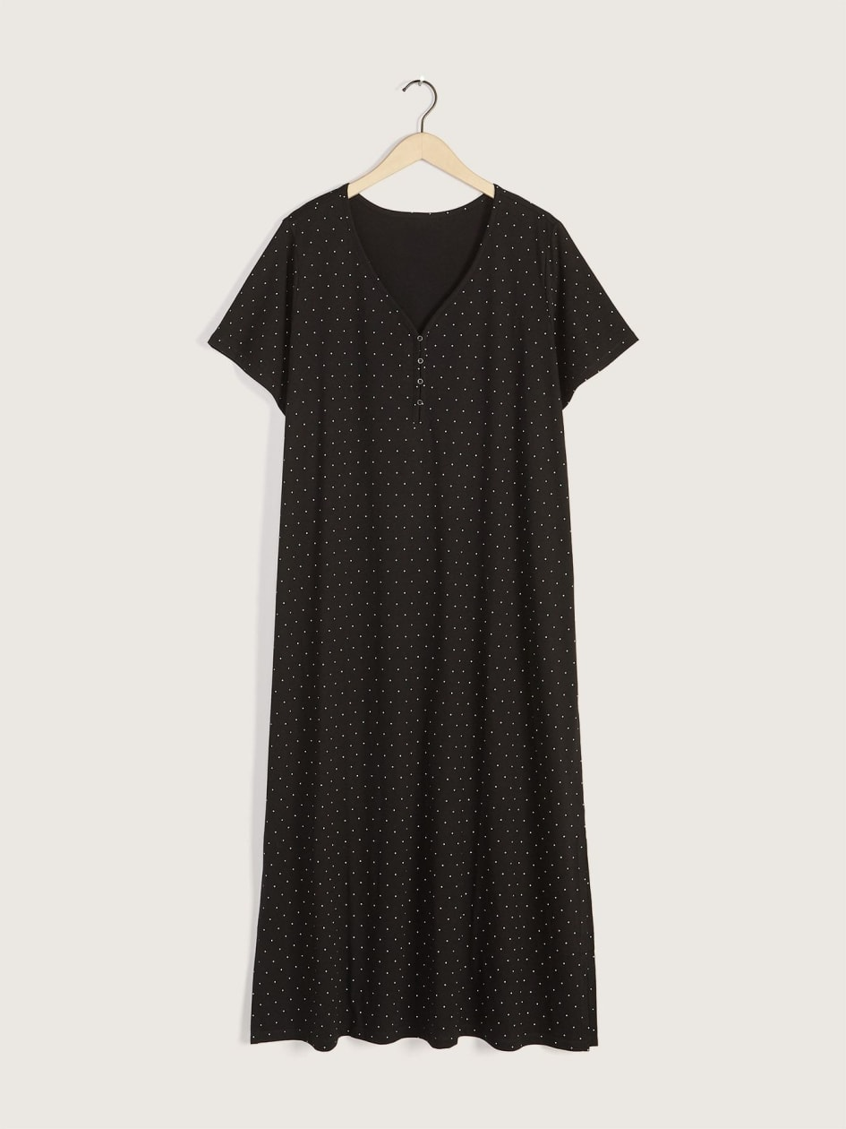 Long Button-Detail Dotted Sleepshirt - Addition Elle