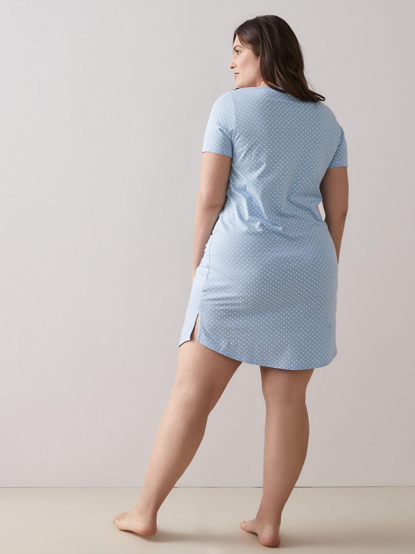 89db22deb Marled and Dotted Short Sleeve Sleepshirt - ti Voglio