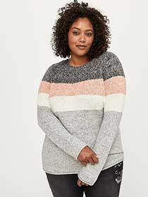 Long Sleeve Colour Block Sweater - d/C JEANS