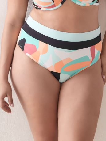 Color Block High Waist Swim Brief - Addition Elle