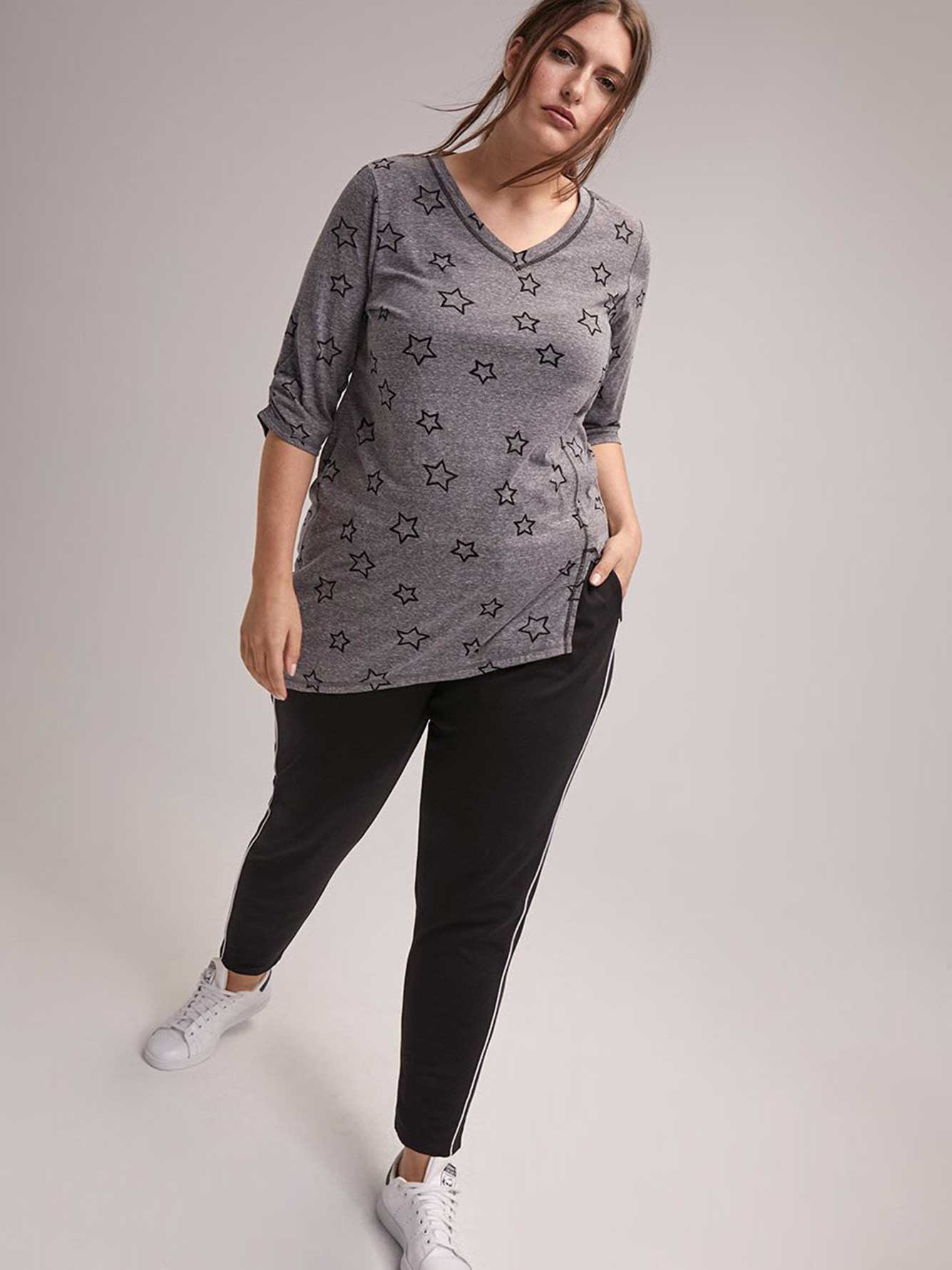 Printed Plus Size 3/4 Sleeve Tee - ActiveZone